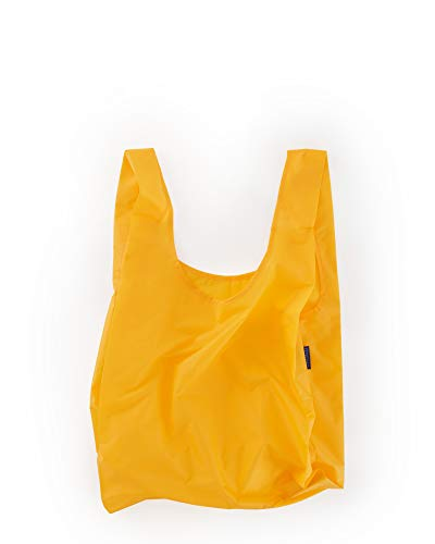 BAGGU Standard Reusable Shopping Bag, Eco-friendly Ripstop Nylon Foldable Grocery Tote, Yolk