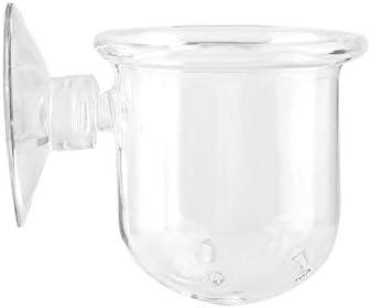 Brocan 水族館のためのカップの魚のRedワームフィーダーカップを食べさせる小さなクリスタルガラス工場(S)