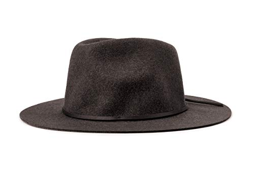Brixton Men's Wesley Medium Brim Felt Fedora Hat, black, Medium