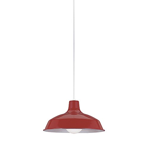 Twenty Transitional One Light (Sea Gull Lighting 6519-21 Painted Shade Pendants One-Light Pendant, Red Finish)