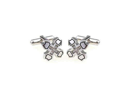 Tone Cross Cufflinks - Jewelled Knight Cross Silver Tone Cufflinks