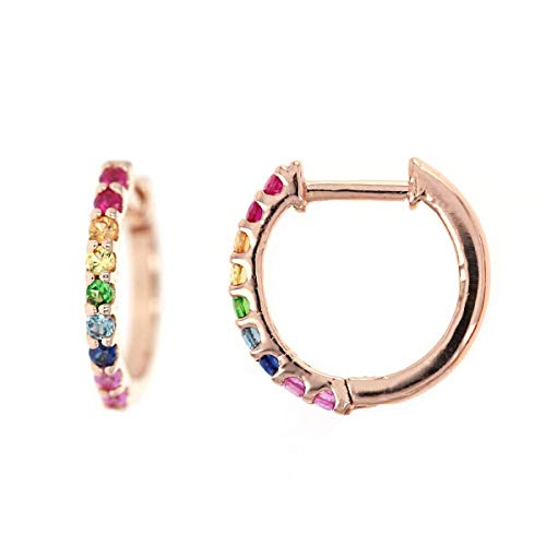 Rainbow Sapphire Huggie Earrings, Multi Colored Sapphire Hoop Earrings, Rainbow Huggie Hoop Earrings, Colorful Huggie Hoops, Gift for her