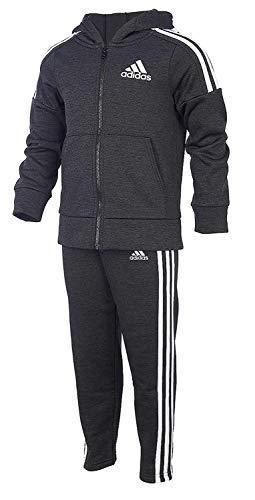 adidas Boys' Tricot Jacket and Pant Set (4T, BM Black/White/Black)