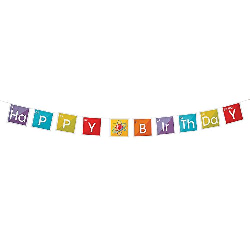 Fun Express - Science Party Birthday Banner for Birthday - Party Decor - Hanging Decor - Garland - Birthday - 1 Piece -