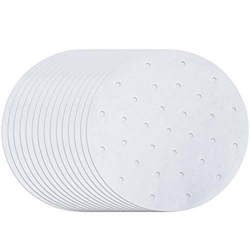 200Pcs Air Fryer Liners, 7.5 Inch Round Parchment Paper Bamboo Steamer liners for Air Frye, Steaming Basket, Pans, Perforated Anti-stick Waterproof, Easy Cleanup