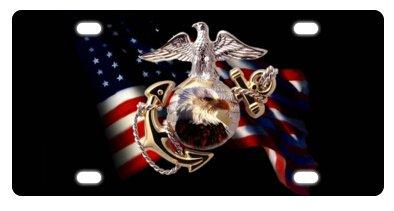Cool USMC Marine Corps American Flag Bald Eagle Novelty License Plate Decorative Front Plate 6