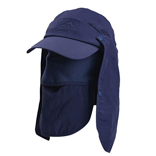 Crytech 3-in-1 Uv Sun Protection Fishing Cap Breathable Bonnie Bucket Hat with Visor Brim Safari Cap with Face Cover Removable Neck Face Flap Gardener Hat Golf Baseball Hat for Women Men (Navy)