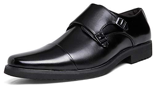 [Kitlilur] ビジネスシューズ メンズ モンクストラップ ビジネスウォーキングシューズ 防水 幅広 防滑 革靴 ビジネス 防臭 冠婚葬祭 紳士靴 モンク 就活 ブーツ ブラック ブラウン(24CM~29CM)