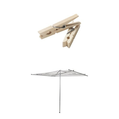 Household Essentials Rotary Outdoor Parallel Drying Rack Bundle | Steel with 210 ft Drying Space | Includes 96 ct Clothespins