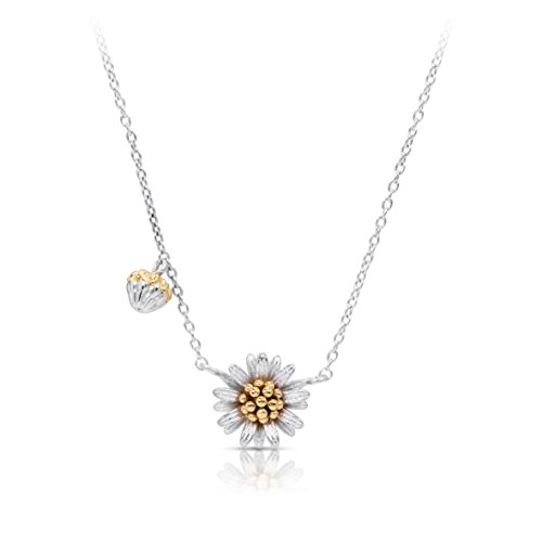 BLING BIJOUX Golden Pollen Daisy Flower Pendant Necklace, Never Rust 925 Sterling Silver, Hypoallergenic Chain with Free Breathtaking Gift Box