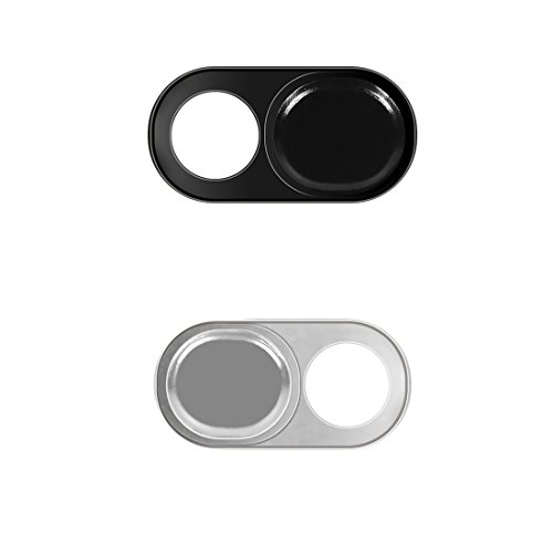 Webcam Cover Slide Sticker 2 Pack Fit MacBook Pro iPhone and Most Laptop Tablet Phone Round 1 Black and 1 Silver by Arctic Fish ()