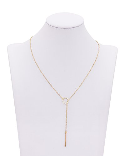Large Product Image of Geerier Gold Bar Pendant Necklace Simple Bar Circle Larait Chain Necklace for Women