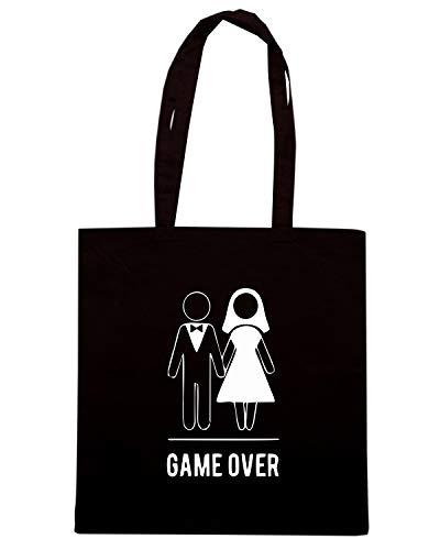 Borsa Shopper Nera MAT0034 GAME OVER WHITE