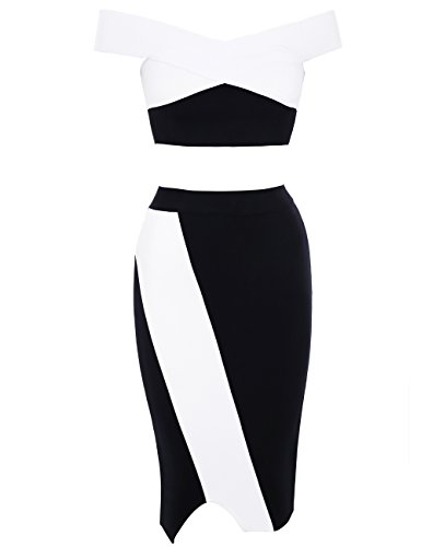 Norman Becher Women Off Shoulder Bodycon Colorblock Crop Top and Skirt Two Pieces Set Outfits Party Dresses XS Colorblock 2 Piece Dress
