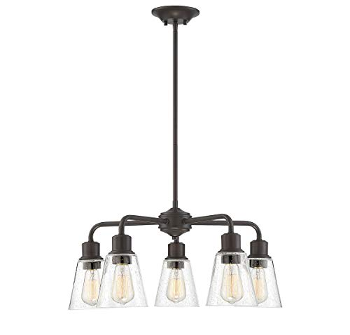 Trade Winds Lighting TW10051ORB 5-Light Vintage Rustic Industrial Chandelier Ceiling Light with Clear Seeded Glass, 60 Watts, in Oil Rubbed Bronze ()
