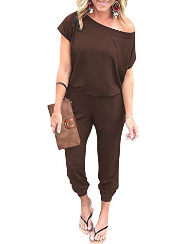 Adibosy Women Summer Off Shoulder Jumpsuits Elastic Waist Beam Foot Onepiece Pants Rompers with Pockets Long Coffee L ()