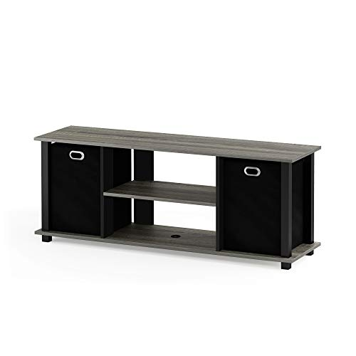 Furinno 13054GYW/BK/BK Econ Entertainment TV Stand with Stor