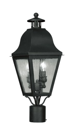 Livex Lighting 2552-04 Outdoor Post with Seeded Glass Shades, Black