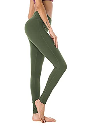 QUEENIEKE Womens Yoga Pants Power Flex Mid-Waist Sports Leggings Tummy Control Workout Pants with Pocket for Running Fitness Yoga Army Green XS
