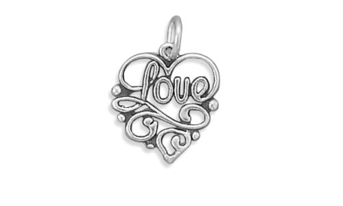 Sterling Silver Filigree Brooch (Corinna-Maria 925 Sterling Silver Filigree Love Heart Charm)