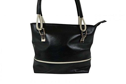 Sehr elegante Lederschultertasche in schwarz