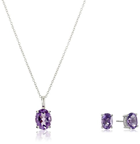 - Amethyst Jewelry Set in Sterling Silver, Oval Stud Earrings and Pendant Necklace, 18