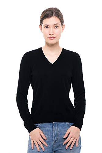 Goyo Cashmere Women's 100% Pure Cashmere Sweater – Long Sleeve V-Neck Pullover (Black, L)
