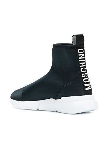 Moschino Ladies Ma15524g05m23000 Slip In Pelle Nera Su Sneakers