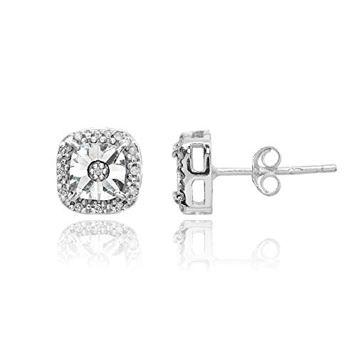 Sterling Silver Polished Halo Square Cushion Diamond Accent Stud Earrings, JK-I3
