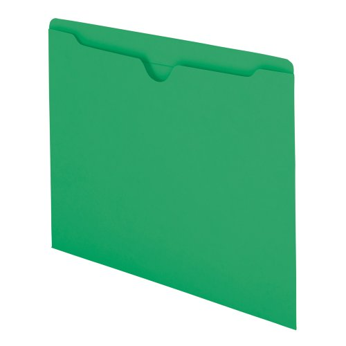 (Smead File Jacket, Reinforced Straight-Cut Tab, Flat-No Expansion, Letter Size, Green, 100 per Box (75503))