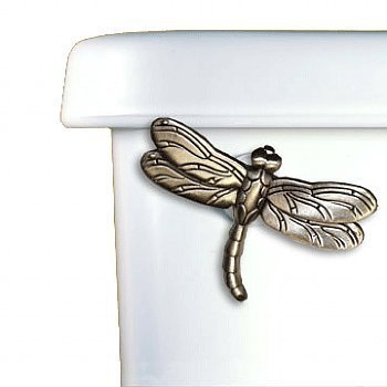 Dragonfly Toilet Flush Handle Front Mount in Satin Pewter Finish by Functional Fine Art by Functional Fine Art