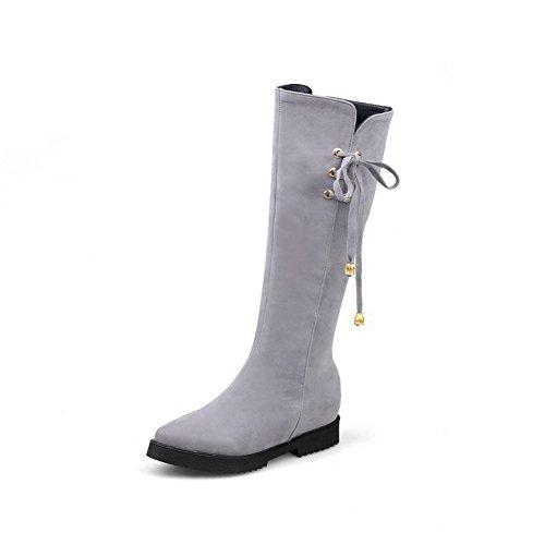 Boots Women's Kitten AmoonyFashion High Frosted Heels top Gray Solid Zipper 8T6Hw4