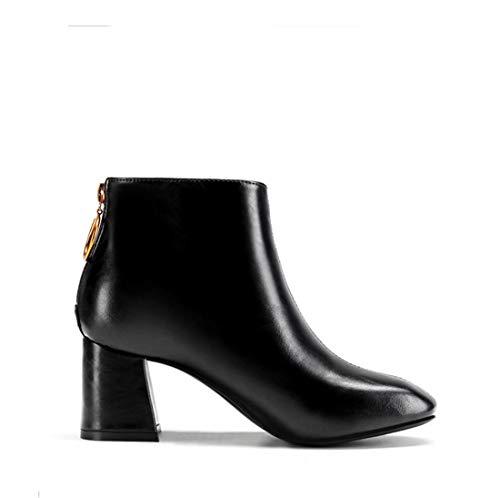 Sandalette-DEDE Zapatos para Mujer/Botas Botas ásperas y Martin Europeas y Americanas, Botas Altas y Botas Martin, Botas Delgadas de Martin. black