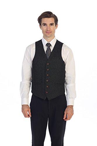 Gioberti Men's 6 Button Slim Fit Formal Herringbone Tweed Vest, Barleycorn Charcoal, 5X Large ()