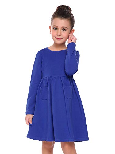 Arshiner Little Girls Long Sleeve Solid Color Casual Skater Dress Royal Blue 120(Age for 6-7Y) ()