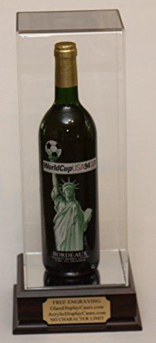 (Wine , Champagne , Liquor , Beverage Bottle Acrylic Display Case with Cherry Finish Wood Platform Base - Free No Limit Engraving)