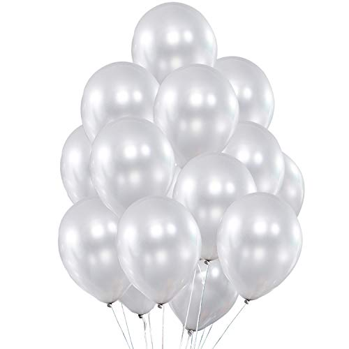 Fayoo Pearlized White Balloons, 12'' Shining Latex Party Balloons for Party Decorations, Baby Shower, Christmas Decorations, Birthdays, Bridal Shower, Valentine's Day, Graduation 50 pcs (White) ()