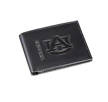 fan gear Auburn Tigers Black Leather Bi-Fold - Black Auburn Clip Tigers Money