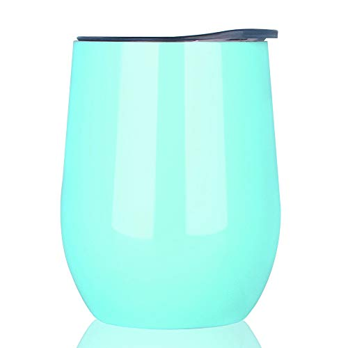 NEWBEA 12 oz Wine Tumbler with Lid, Double Wall Vacuum Insulated Stemless Glass,Stainless Steel Wine Cup Perfect for Wine,Coffee,Drinks,Champagne,Cocktails by NEWBEA (Image #1)