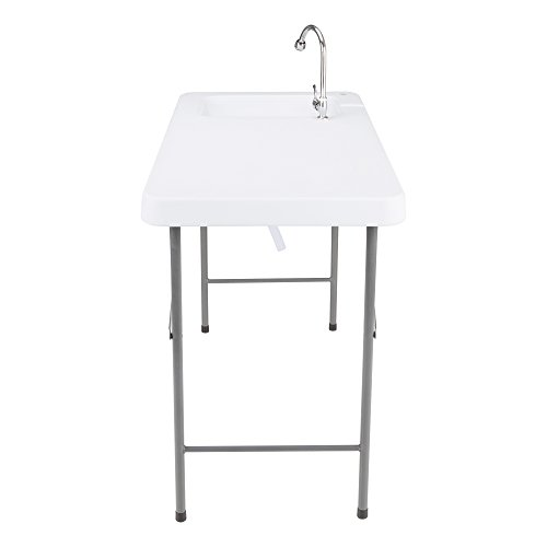 Norwood-Commercial-Furniture-NOR-WOB2446-SO-Folding-Portable-Fish-FilletHuntingCutting-Gardening-Table-with-Sink-Faucet-34-Height-24-Wide-46-Length-Light-Grey