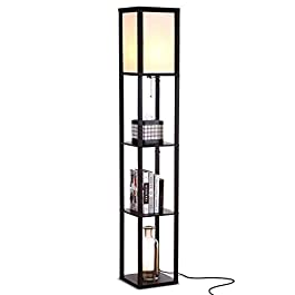 Brightech Maxwell – LED Shelf Floor Lamp – Modern Standing Light for Living Rooms & Bedrooms – Asian Wooden Frame with Open Box Display Shelves