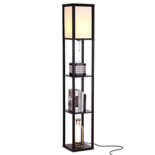 Brightech Maxwell - LED Shelf Floor Lamp - Modern Standing Light for Living Rooms & Bedrooms - Asian Wooden Frame with Open Box Display Shelves - ()