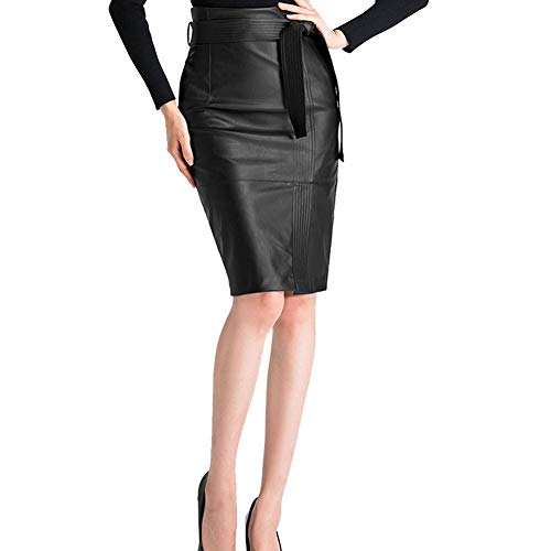 KoHuiJoo Plus Size Leather Skirt for Women, Black Green Autumn Winter Sexy High Waist Office Ladies Faux Pu Pencil Leather Skirts with Sashes (Black, S)