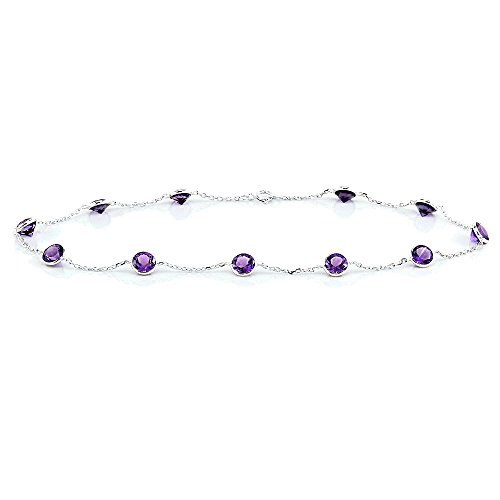 14k White Gold Handmade Station Anklet with Round 4mm Amethyst by amazinite