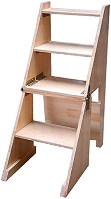 Taburete plegable para peldaños para trabajo pesado, escalera, taburete, marco de madera maciza para interiores, silla multifunción multifuncional para escaleras, para sala de estar, jardín, dormitori: Amazon.es: Bricolaje y herramientas