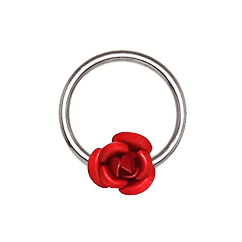 Amelia Fashion 16 Gauge Red Rose Snap-in Captive Bead Ring 316L Surgical Steel (Steel & Red ()