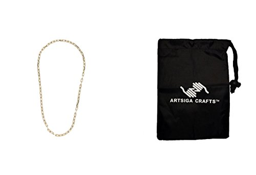 Darice Jewelry Making Chains Cable Necklace 6 x 11mm Links Gold 24in. (3 Pack) 1999 2121 bundled with 1 Artsiga Crafts Small Bag 11mm Cable Link Chain