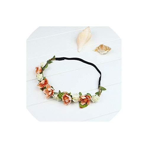 Feitong Women Headwear Bohemian Rose Wedding Flowers Hair Band Bride Wreath Floral Summer Crown Tiara Crown Accessories,Orange]()