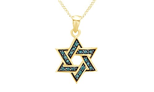- Jewel Zone US Hanukkah Holy Day Sale Blue Natural Diamond Star of David Pendant Necklace in 14k Yellow Gold Over Sterling Silver (1/5 Ct)