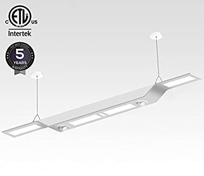 Dimmable Hybrid Architectural LED Linear Pendant Light, 60W (980W Equivalent), 6200 Lumens, Multi-Functional Suspension Lighting, 4000K Cool White, ETL Certified, 5 YEARS WARRANTY